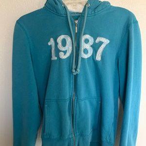 Aeropostale Womens Blue Hoodie Full Zip 1987